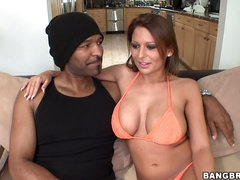 White babe Alison Star with huge perfect billibongs wears sexy bikini. She has fun with black guy's big chocolate snake in this video. She puts his schlong on her shoulder and then fucks her mouth!