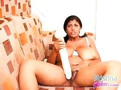 Kristina Milan playing with a biggest dildo