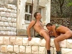 2 sexy and enchanting army chaps are pounding and drilling each other
