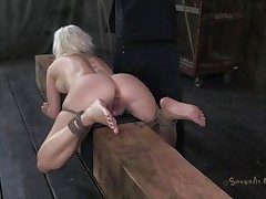tied and fucked on a wooden barn