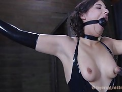 brunette lover torments his lady