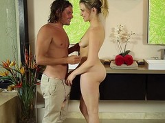 Soft masseuse hands land on horny skin