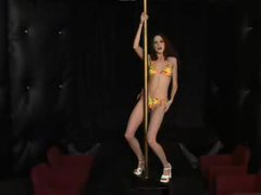 Skinny babe works the stripper pole naked