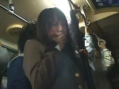 Shy Asian school girl gets caressed on the train then fucked at home