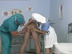 Breasty Golden-haired Nurse Kathy Sweet Gets Facialized In a Bisexual Threesome