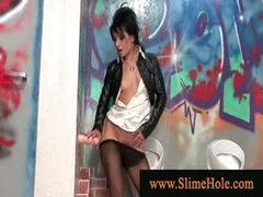 Lady drenched by gloryhole