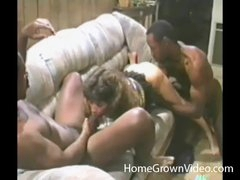 Retro cock-sucker blows two black guys