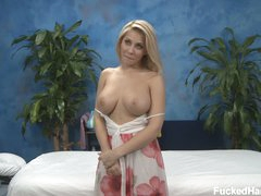 Blonde girl Madison is ready to enjoy massage in her bare skin. But for a start she bares just her perfect large boobs. Her amazing nice size breasts will turn you on!