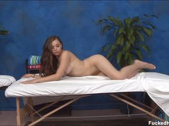 Long haired charming brunette gal Tiffany with soaked pantoons and valuable ass takes off her bra and panties in flirtatious manner. Hot bodied hottie is naked and hot on massage table.