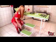 Sexy nurse takes a big piss